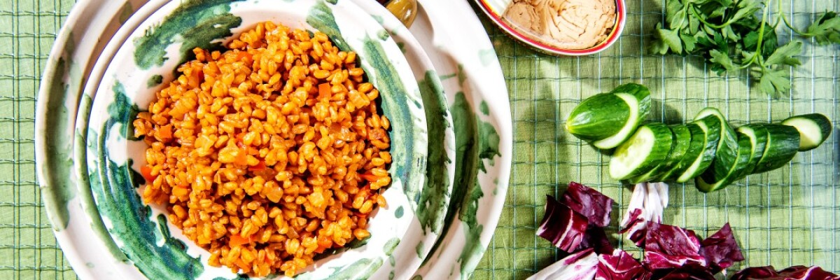 Well-seasoned farro with your favorite proteins and vegetables makes for a delicious grain bowl.
