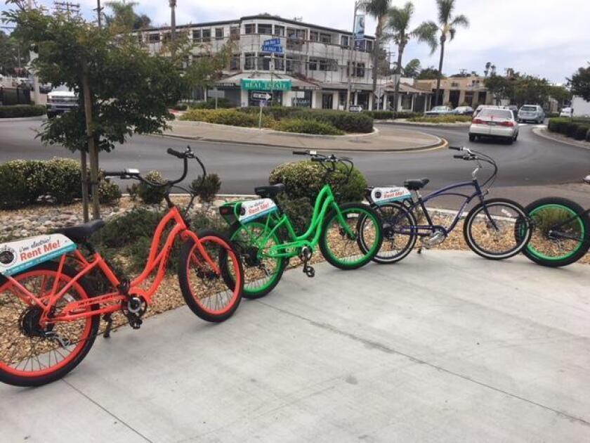 Rental bikes outside the Pedego store at 5702 La Jolla Blvd. (858) 291-8845. pedegoelectricbikes.com