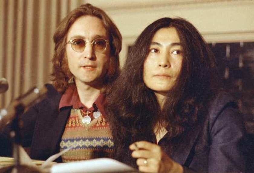 John Lennon, shown in 1973 file photo with wife Yoko Ono, is subject of a spoof video showing reactions of judges on NBC-TV's 'The Voice' to his performance of 'Imagine.'