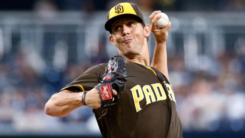 Padres starting pitcher Christian Friedrich works against the Washington Nationals during the first inning of a baseball game Friday, June 17, 2016, in San Diego.