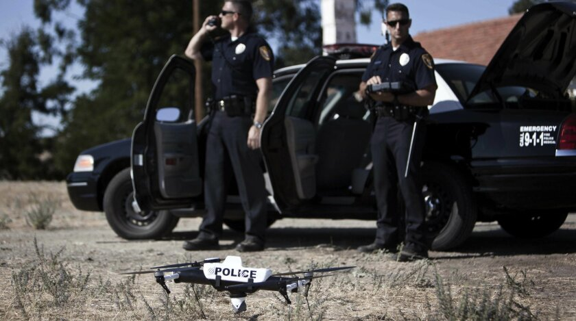 Police try out the Qube Law Enforcement Unmanned Aircraft System.