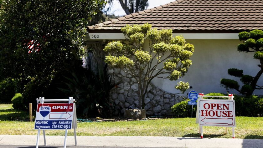 Signs point the way for open houses in Torrance.