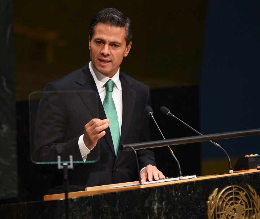 Mexican President Enrique Peña Nieto addresses the United Nations General Assembly on Wednesday at the United Nations in New York.