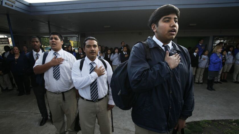 February 07, 2013 San Diego, CA. USA   Every morning, the entire student body and faculty gather