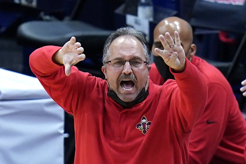 FILE - New Orleans Pelicans head coach Stan Van Gundy calls out from the bench in the second half of an NBA basketball game against the New York Knicks in New Orleans, in this Wednesday, April 14, 2021, file photo. The Knicks won 116-106. Stan Van Gundy is out as Pelicans coach following just one season at the helm, a person familiar with the situation said. The person spoke to The Associated Press on condition of anonymity Wednesday, June 16, 2021, because the move has not been publicly announced. (AP Photo/Gerald Herbert, File)