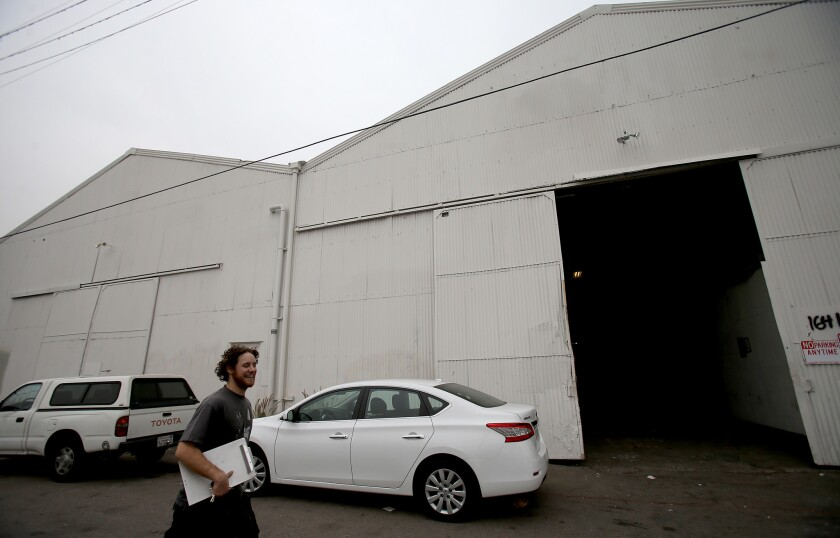 LOS ANGELES, CALIF. DEC. 15, 2016. The owner of a warehouse on Naud Street in Los Angeles where artists and craftsmen rent work space has served eviction notices to tenants in the wake of the deadly warehouse fire in Oakland.