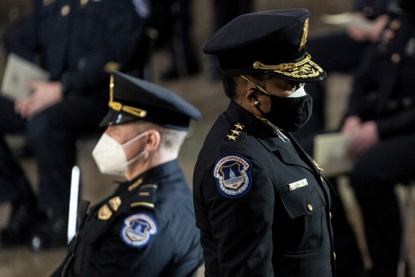 Capitol Police Acting Chief Yogananda Pittman departs a ceremony memorializing U.S. Capitol Police officer Brian Sicknick.