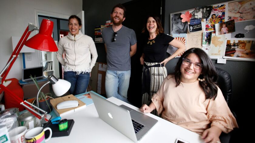 The founders of the Suite 8 shared writers space, from left: Erica Rothschild, Josh Zetumer, Janelle Brown and Carina Chocano.