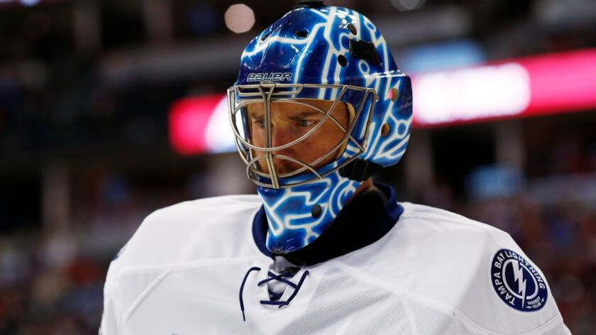 Goalie Ben Bishop is shown in a game against the Colorado Avalanche on Feb. 19.