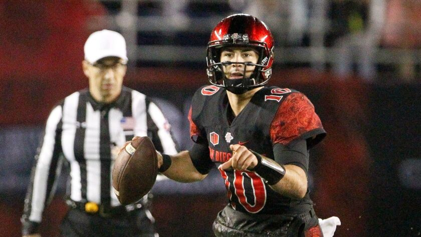 SAN DIEGO, November 26, 2016 | The Aztecs' quarterback Christian Chapman during game against Colorad