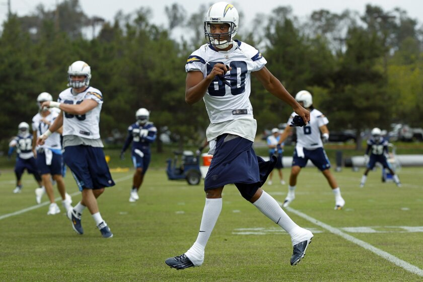 San Diego Chargers Malcom Floyd practices during a voluntary workout.