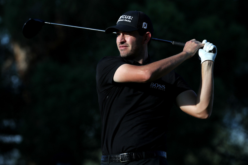Patrick Cantlay hits his tee shot on No. 16 in the third round of the Shriners Hospitals for Children Open.