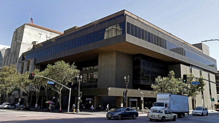 Preservationists are applying city landmark status for the former Times Mirror headquarters at the corner of 1st Street and Broadway in downtown Los Angeles.