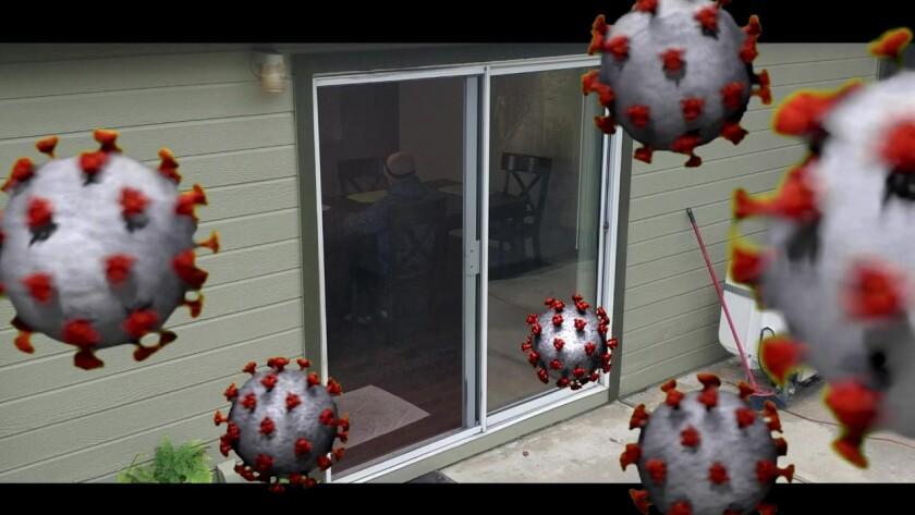 An imagined scene of coronavirus molecules floating outside a home is from Fallbrook High senior Skyler Garcia's short film.
