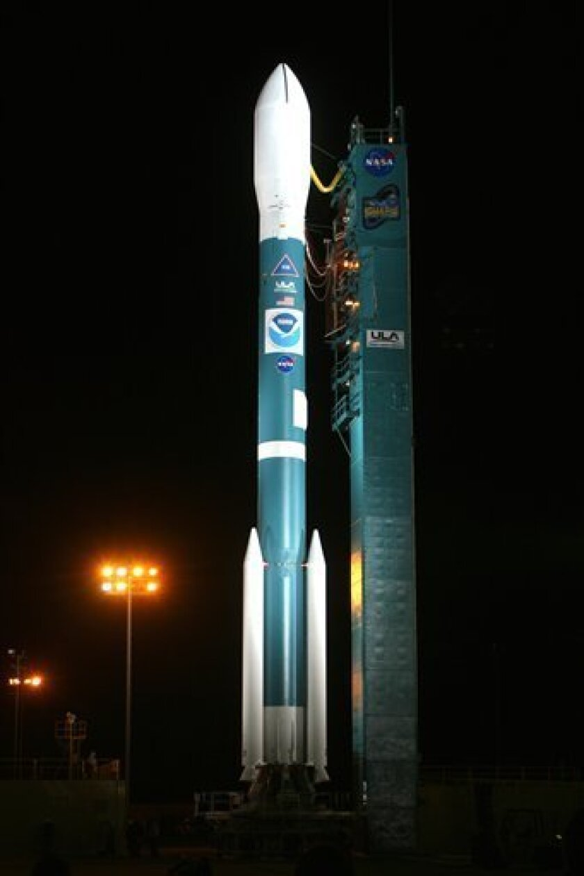 This image provided by the United Launch Alliance shows the Delta II rocket shortly after its protective tower was rolled back, at Space Launch Complex-2 at Vandenberg Air Force Base, Calif., Tuesday Feb. 3, 2009. The NOAA-N Prime satellite was scheduled to be launched aboard a Delta 2 rocket early Wednesday but the mission was postponed because of a problem with the facility's gaseous nitrogen system, which is used to pressurize the liquid oxygen tank and control systems. The National Oceanic and Atmospheric Administration, which manages the $564 million mission, did not immediately say when the launch would take place. (AP Photo/Carleton Bailie - United Launch Alliance)
