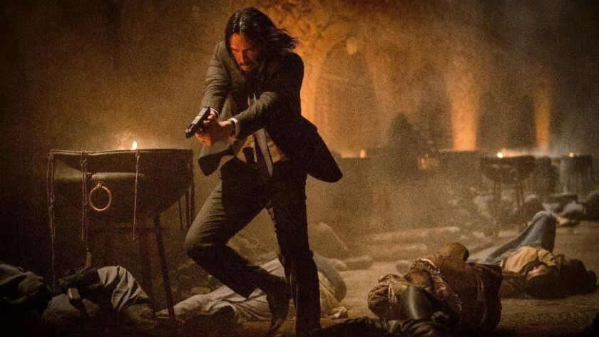 """John Wick (Keanu Reeves) blasts his way out of a Moroccan foundry in """"John Wick: Chapter 3 — Parabellum."""""""