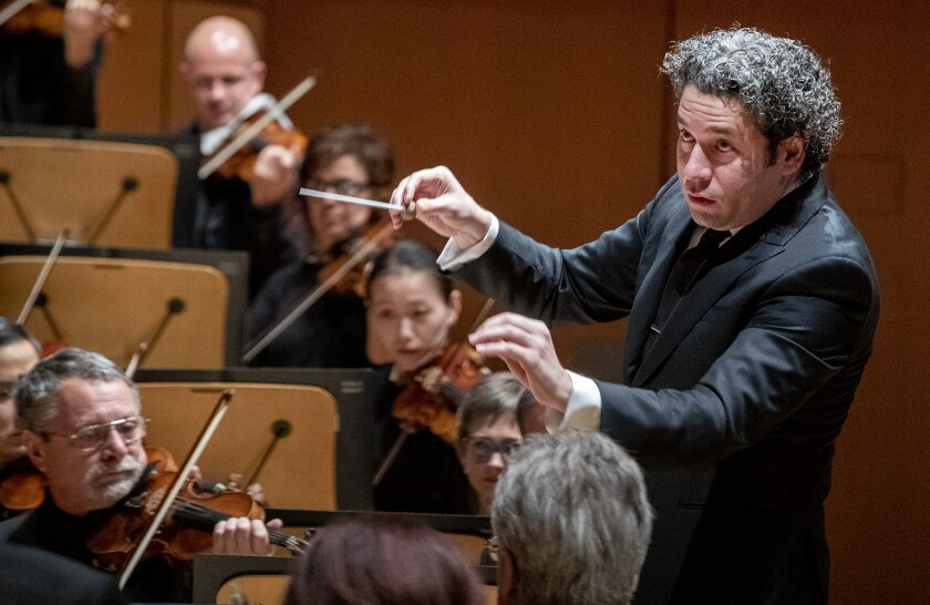 "Gustavo Dudamel conducts the L.A. Phil through a repeat performance of Andrew Norman's ""Sustain"" at Walt Disney Concert Hall in November."