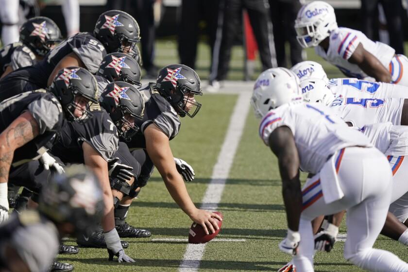 Vanderbilt lines up against Florida in the second half of an NCAA college football game Saturday, Nov. 21, 2020, in Nashville, Tenn. (AP Photo/Mark Humphrey)