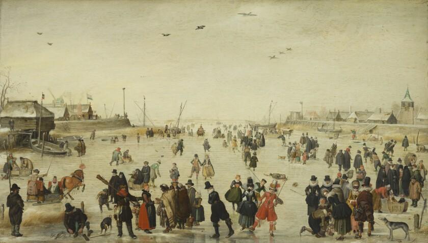 "Hendrick Avercamp, ""Winter Scene on a Frozen Canal,"" circa 1620, oil on wood"