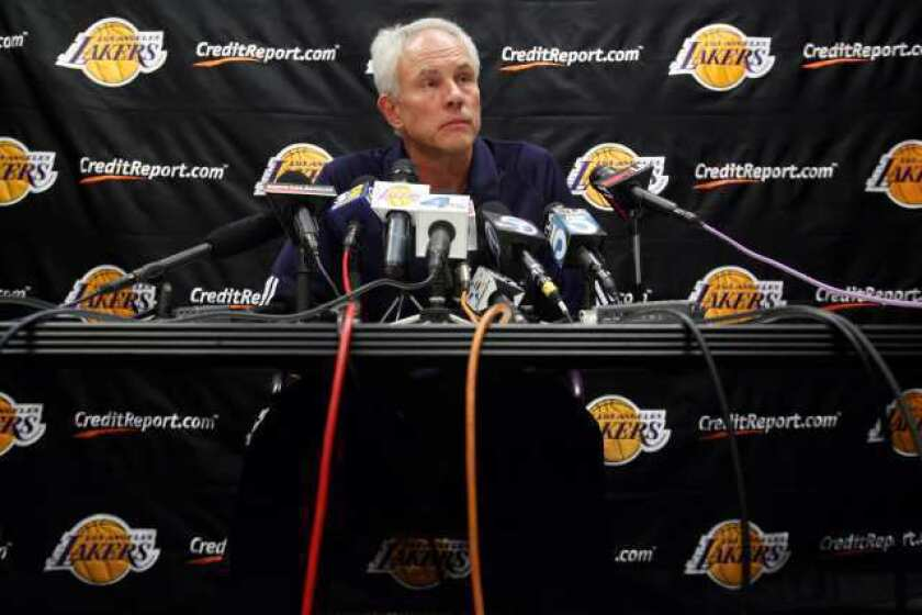 """Lakers General Manager Mitch Kupchak tells The Times: """"Andrew [Bynum] continues to have a mix of good moments and maybe not-so-good moments. But he's very bright, a really intelligent kid."""""""