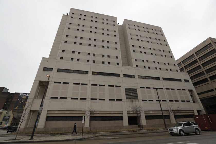 Cuyahoga County authorities plan to use their money to set up an opioid treatment program in the county jail above.
