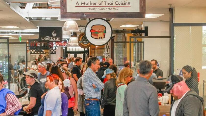 Crowds gather for lunch on Tuesday at Liberty Public Market in San Diego, California. (Eduardo Contreras)