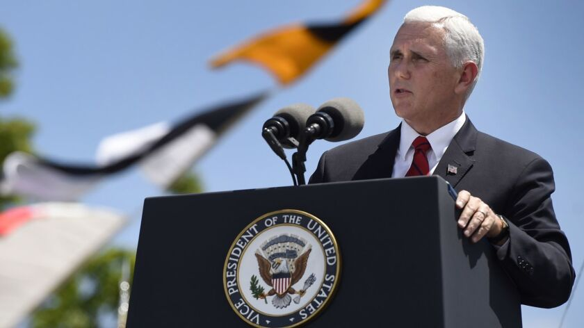 Vice President Mike Pence speaks at the commencement for the United States Coast Guard Academy in Ne