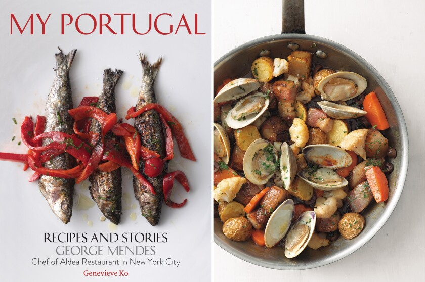 The cover of George Mendes' new Portuguese cookbook and a photo from the book of pork belly with clams and pickles.