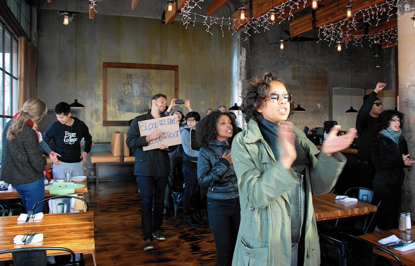 "At Forge restaurant in Oakland, activists with #BlackBrunch read the names of African American men, women and children killed ""by police, security guards and self-anointed vigilantes."" Patrons stood up in a show of support, and restaurant's manager called the action ""beautiful."""