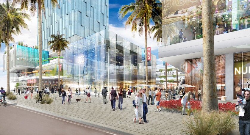 A rendering of a master plan by architecture firm Gensler to develop the site across Grand Avenue from Walt Disney Concert Hall.