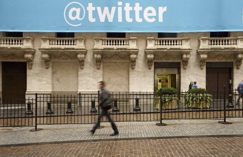 The Twitter banner at the New York Stock Exchange on Nov. 7.