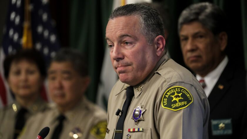 Los Angeles County Sheriff Alex Villanueva holds a press conference in Los Angeles on Jan. 30.