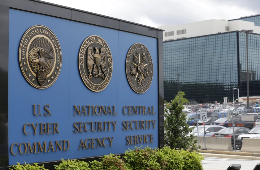 A sign stands outside the National Security Administration campus in Fort Meade, Md. (AP Photo/Patrick Semansky, File)
