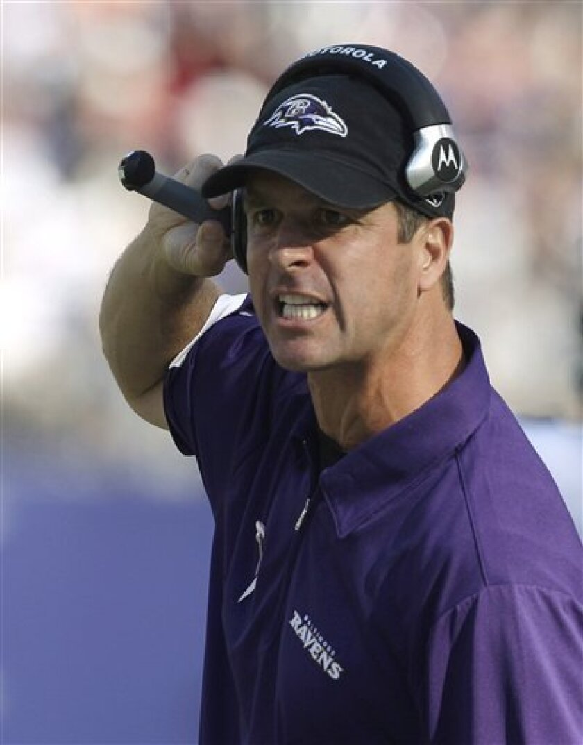 This Oct. 5, 2008 file photo shows Baltimore Ravens head coach John Harbaugh yelling at an official during the second half of an NFL football game against the Tennessee Titans, in Baltimore. The Titans won 13-10. The Ravens and Titans will meet in an NFL playoff game Saturday Jan. 10, 2009 in Nash