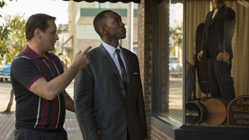 "(L-R) - Viggo Mortensen as Tony Vallelonga and Mahershala Ali as Dr. Donald Shirley in ""Green Book,"""