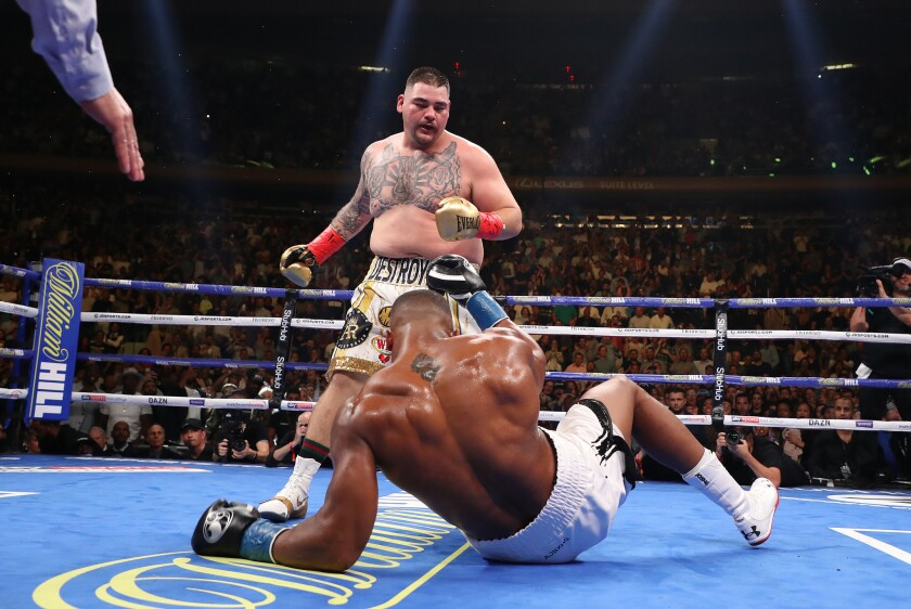 Andy Ruiz Jr. knocks down Anthony Joshua.