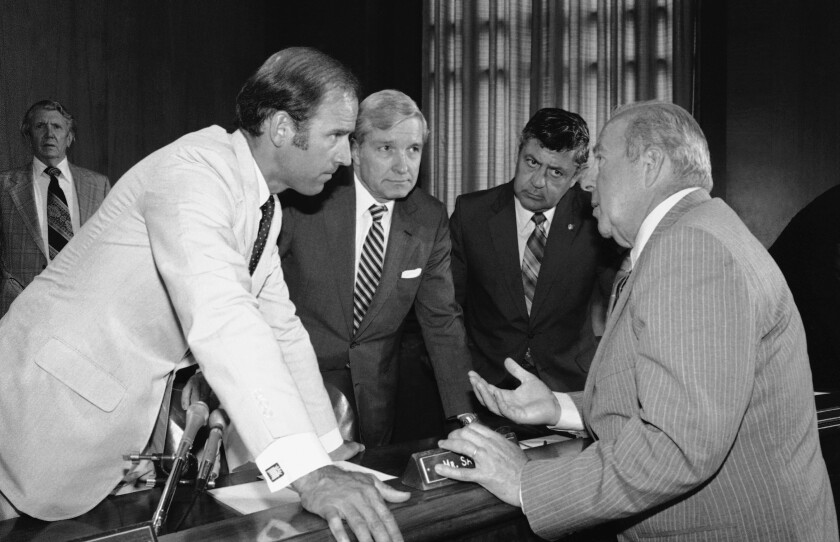 Secretary of State designate George P. Shultz, right, with members of the Senate Foreign Relations Committee in 1982.