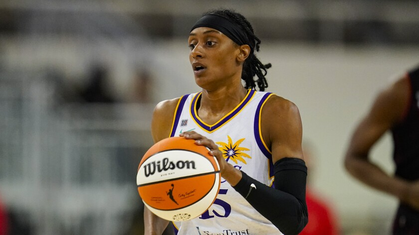 Sparks guard Brittney Sykes brings the ball up the court.
