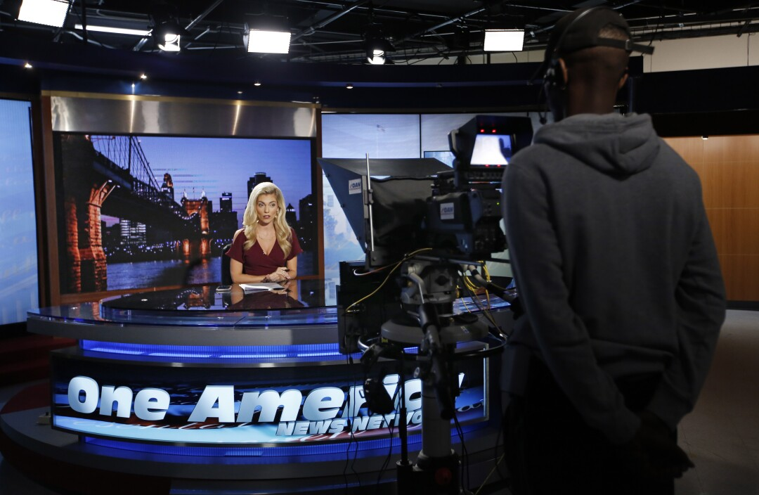 "Host Liz Wheeler tapes a segment for ""Tipping Point with Liz Wheeler"" at One America News on Sept. 5, 2019."