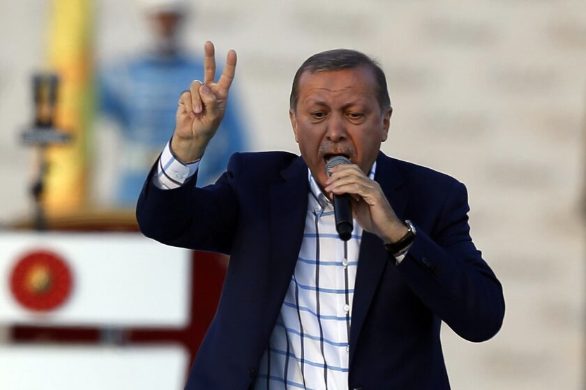 Turkey's President Recep Tayyip Erdogan addresses a rally marking the 563rd anniversary of the Ottoman conquest of Istanbul -  formerly Constantinople - in Istanbul, Turkey, Sunday, May 29, 2016. Erdogan has criticized the United States, Russia and Iran for their presence in Syria and said their un