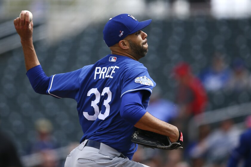 Dodgers pitcher David Price throws against the Reds during a spring training game Monday in Goodyear, Ariz.