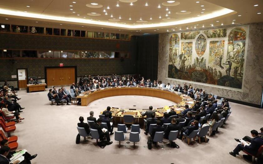Vista general de una reunión del Consejo de Seguridad de la ONU celebrada durante el 73 periodo de sesiones de la Asamblea General de Naciones Unidas (ONU), en la sede de la ONU en Nueva York, Estados Unidos, el 27 de septiembre del 2018. EFE