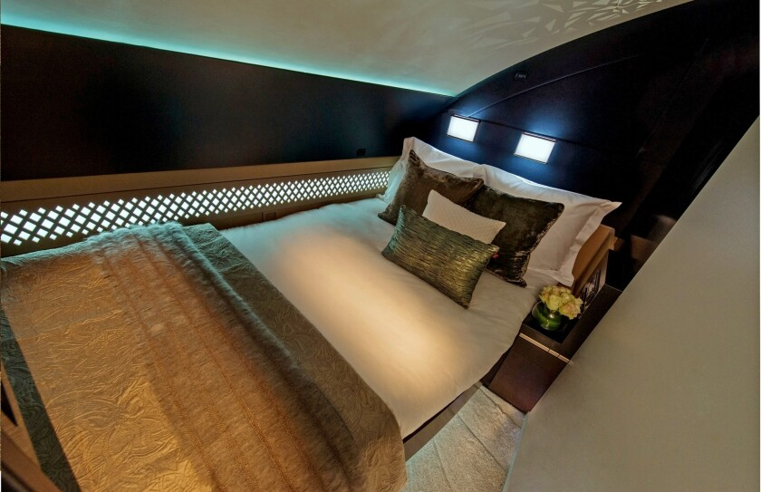 Etihad three-room suite located on the jets' forward upper deck, the 125-square-foot suite can accommodate one or two travelers.
