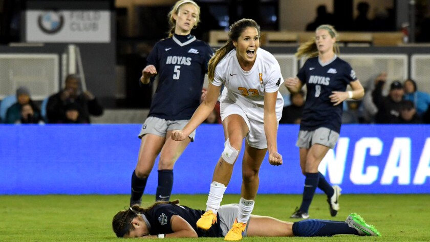 USC's Katie Johnson reacts after scoring against Georgetown on Friday in a College Cup semifinal game.