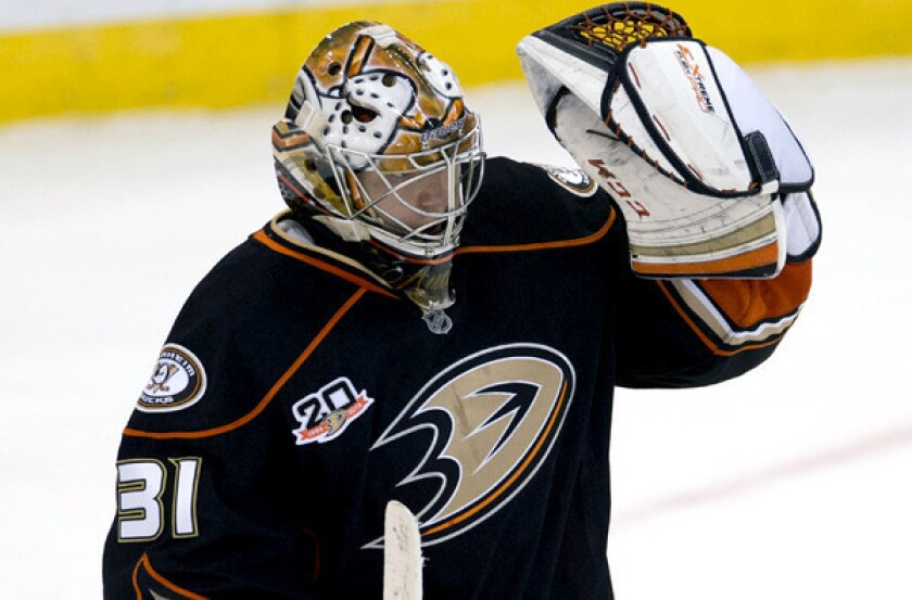 Ducks goalie Frederik Andersen celebrates after a 2-1 victory over the Ottawa Senators earlier this season.