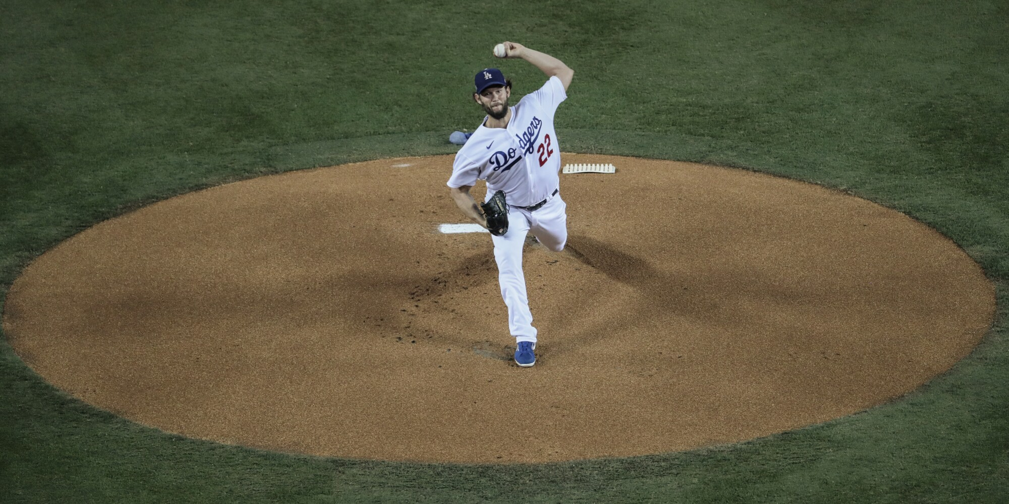Dodgers starting pitcher Clayton Kershaw throws during Game 2 against the Milwaukee Brewers on Thursday.