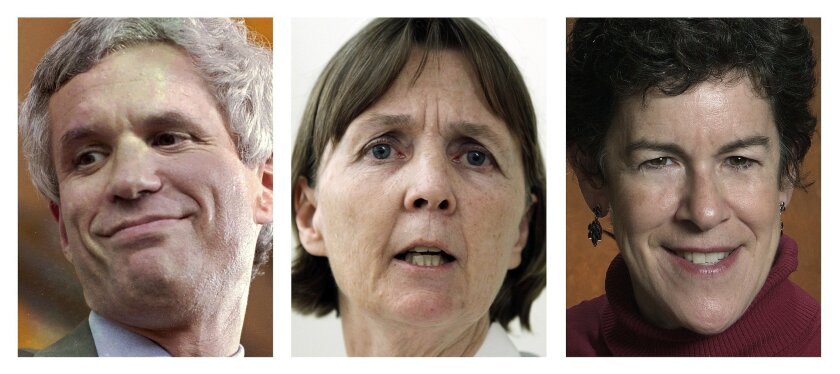 FILE - This panel of file photos shows attorneys David Bruck, left, July Clarke, center, and Miriam Conrad, right, who are the defense team for Boston Marathon bombing suspect Dzhokhar Tsarnaev. Jury selection for Tsarnaev's trial is scheduled to begin Monday, Jan. 5, 2015, in federal court in Bost