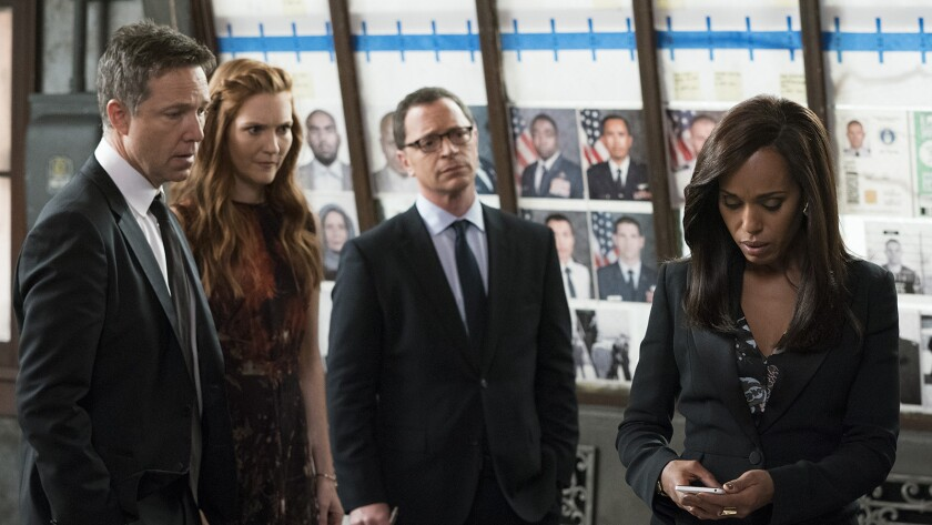 "George Newbern, left, Darby Stanchfield, Joshua Malina and Kerry Washington in ""Scandal"" on ABC."