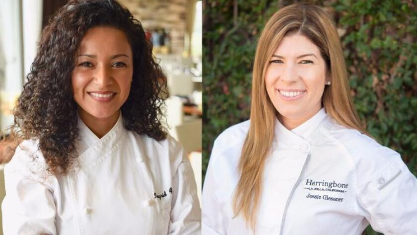 Ingrid Funes, left, is the new executive chef at Cusp Dining + Drinks in La Jolla and Jessie Glessner, right, is new executive chef at Herringbone in La Jolla. (Credit: Hotel La Jolla/Tim King)