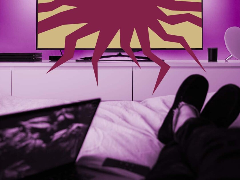 The view of a person watching tv in bed, with an illustrated burst protruding from the screen.